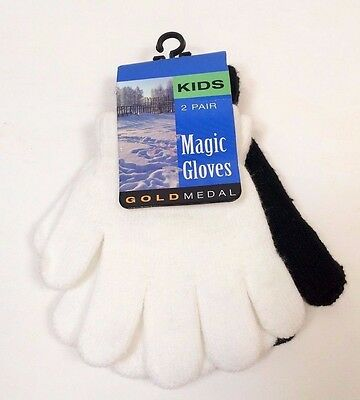 NWT 2 Pair Girls Kids Magic Gloves Gold Medal One Size Fits Most Black White  C3