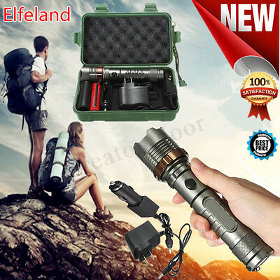 Elfeland 20000LM 5Mode T6 LED Rechargeable Flashlight Torch 18650 Charger Box