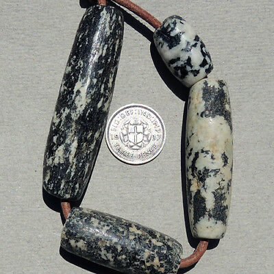 4 superb old antique granite african stone beads dogon mali #49