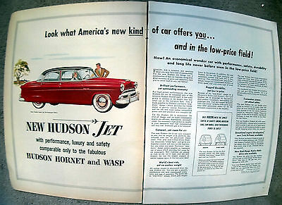 1953 Hudson Super Jet Sedan New Original 2 Page 10.5 x 13.5 Magazine Ad-6 Seater