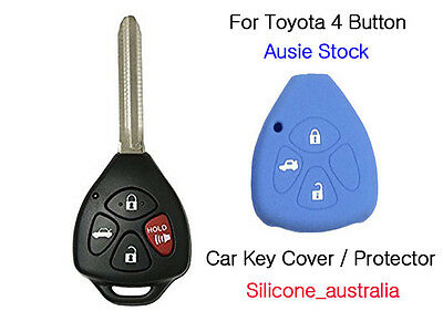 4Button Blue Silicone Car Key Cover Fits for Toyota Corolla Hilux Yaris Camry