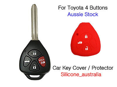 4 Button Red Silicone Car Key Cover Fits for Toyota Corolla Hilux Yaris Camry
