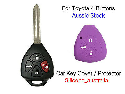 Purple 4Button Silicone Car Key Cover Fits for Toyota Corolla Hilux Yaris Camry