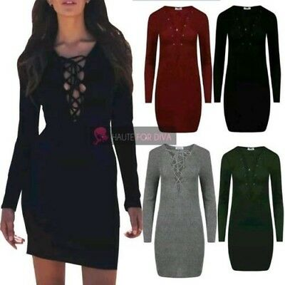 New Ladies Ribbed Lace Up Deep Plunge Long Sleeve Bodycon Mini Dress Uk 8-14