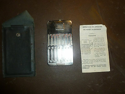 Vintage Tasco Pocket Arithmometer Original Instructions Stylus Case c. 1940s