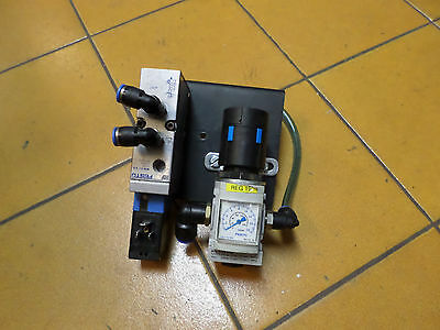 "FESTO - 5/2 Solenoid Valve and Pressure Regulator Combo - 24DC coils. 1/4"" ports"