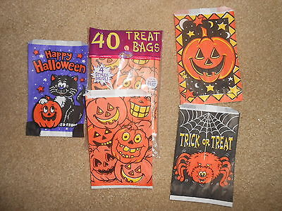 Vintage LOT of 40~Halloween Trick or Treat~Candy~Sack Bags~4 DESIGNS~FunWorld