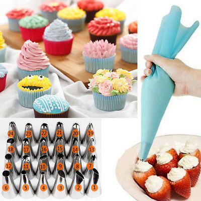 24PCS/Set Icing Piping Nozzles Tips Cake Cupcake Sugarcraft Decorating Tool DIY