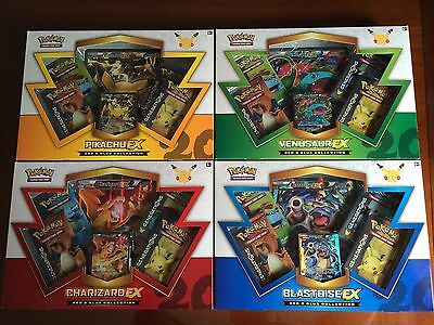 Pikachu/Charizard/Blastoise/Venusaur EX Boxes Set of 4 Pokemon Card NEW Red Blue