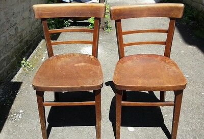 VINTAGE PAIR OF French CAFE BISTRO KITCHEN 1940/1950s  Bentwood BEECH   Chairs