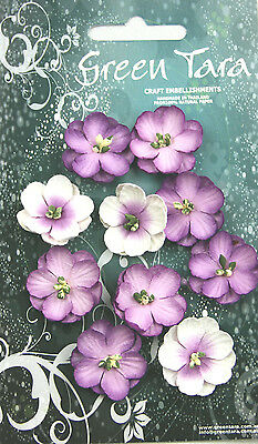 Cherry Blossoms LAVENDER 10 Paper Flowers 25mm across Green Tara GT D