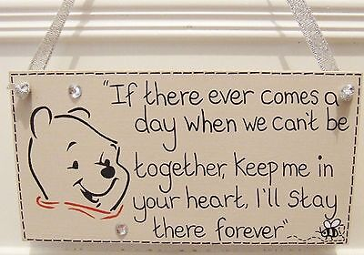 Handmade Personalised Disney Winnie The Pooh Quote Shabby Chic Plaque Sign Gift