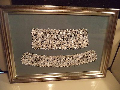 Antique Irish Lace Professionally Framed For Display