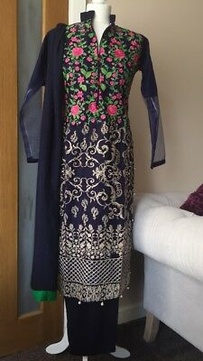 Pakistani Net (jali) Beautiful Navy Embroidered Salwar Kameez For Eid Or Casual