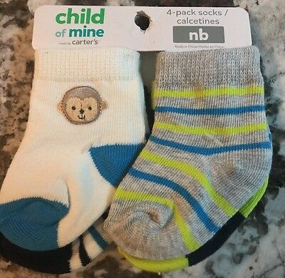 Nwt Baby Boy 4 Pair Pack Of Carters Socks Size Nb