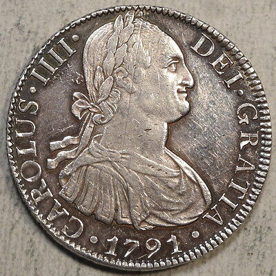 Mexico 8 Reales 1791 Mo/FM, Extremely Fine+, Attractive Coin
