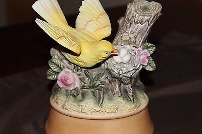 Vintage Shafford Porcelain Bisque Yellow Bird with Nest, Musical Figurine