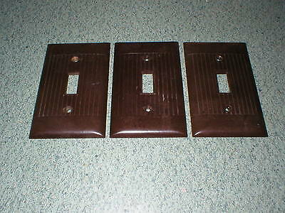 3 Sierra Electric Brown Ribbed Light 1 Switch Plate Covers Vintage Bakelite USA