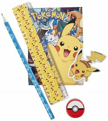 POKEMON 5 PIECE STATIONERY SET Pencil Pad Ruler Eraser Sharpener Pikachu NEW