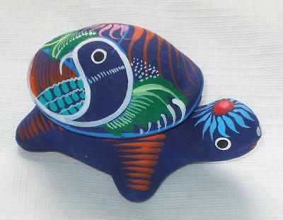 Ceramic Clay Turtle Figurine Small Trinket Keeper Hand-painted Mexican Art TK1