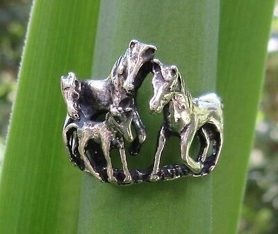 Ring Horse four Horse Foal Herd Sterling Silver 925 plastic Size 19