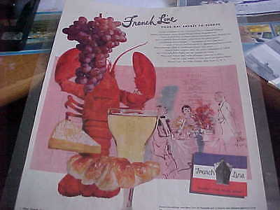 "FRENCH LINE - Full Page  1950s Holiday Magazine 10"" x 13"" LIBERTE ILE DE FRANCE"