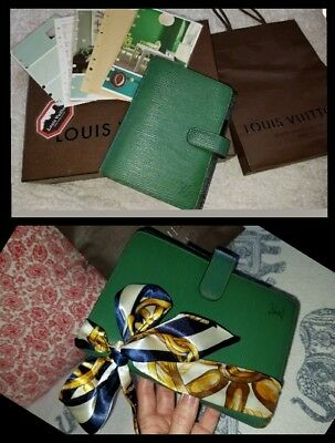 Louis Vuitton Epi Agenda MM Borneo Green LV shopping bag twilly US seller owner