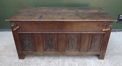 Antique Georgian Country Oak Coffer Box With Alterations - Drop Down Front