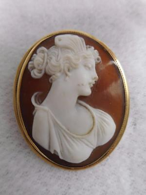 """Late Victorian 14K Yellow Gold Framed Carved Hardstone Cameo 1 1/2"""" Pin Pendant"""