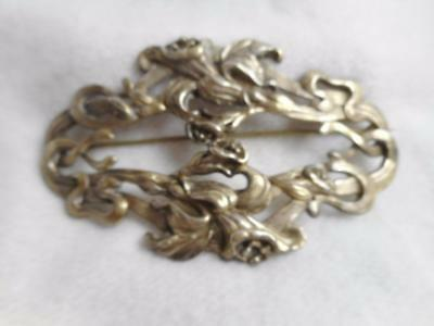 Antique Kerr Art Nouveau Sterling Silver Swirling Daffodil Floral & Stems Pin