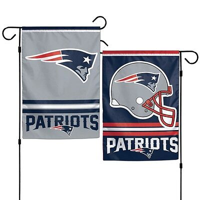 New England Patriots Polyester 12x18 2 SIDED Garden Yard Wall Flag NWT Football