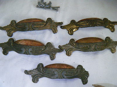 FIVE Vintage Art Deco Nouveau Dresser Drawer Pulls