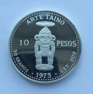 Dominican Republic 1975 10 Pesos Silver Proof.