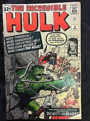 INCREDIBLE HULK #5-1962 from 1 owner collection! First Tyrannus