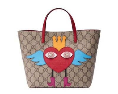 Gucci Girls GG Supreme Flying Heart Tote Bag In Beige Retail Price $650