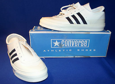 Vtg 1970s Converse Sport Buff Shoes Sneakers Boys Sz 4.5 White New Old Stock USA