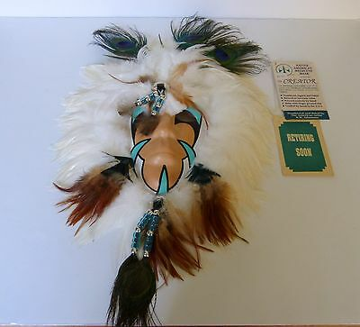 """Native American Shamans Medicine Mask """"the Creator"""" With Tags & Coa"""