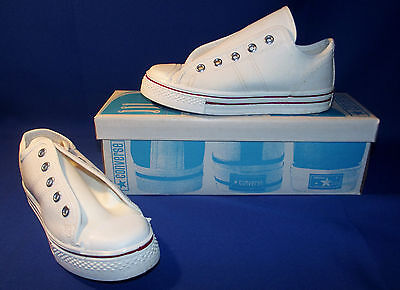 Vtg 1970s Converse Fast Break Sneakers Youth Sz 1 White Canvas New Old Stock
