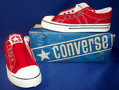 Vintage 1970s Converse Straight Shooter Sneakers Boys Sz 1.5 Red New Old Stock