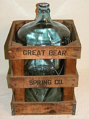 Vtg. Great Bear Spring Co. 5 Gallon Lt. Blue Glass Water Bottle w/Org Wood Crate