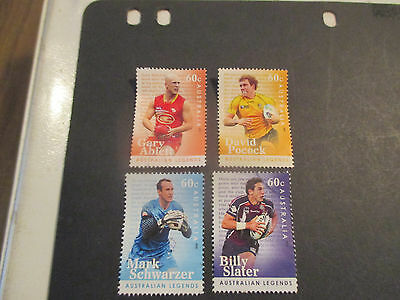 No--1-2012 ----Aust;  Legends  Of  Football---4 Stamps  --F/s  --Perf--Used -A1