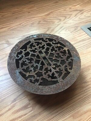Round Cast Iron Floor Register Heat Grate antique vintage sty louvered