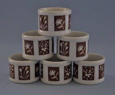 Town & County Napkin Rings Set Of 6 Porcelain White & Brown Geometric Floral