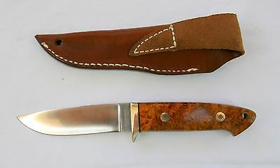 "Vintage A.G.Russell Burl Handle Drop Point 8 1/4"" Knife with Sheath -C 2000-MINT"