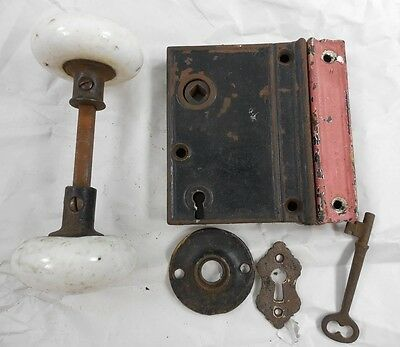 Antique 1866 Cast Iron Rim Surface Door Lock - Key - Keeper & Porcelain Knobs