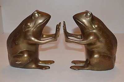 Vintage Heavy Brass Frog Book Ends Made in Korea 1960's