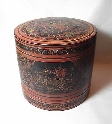Burmese Lacquer Betel Box Rice Stacking Dish Bowl Dragons Black Red Vintage