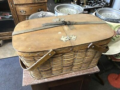 Antique Vintage Wood with Metal Liner Picnic Basket Old Wicker Hawkeye Cooler
