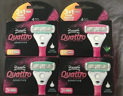 4x Wilkinson Sword Quattro for Women Rasierklingen Sensitive Aloe NEU für Damen