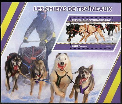 Central Africa 2017 Sled Dogs  Souvenir Sheet Mint Nh